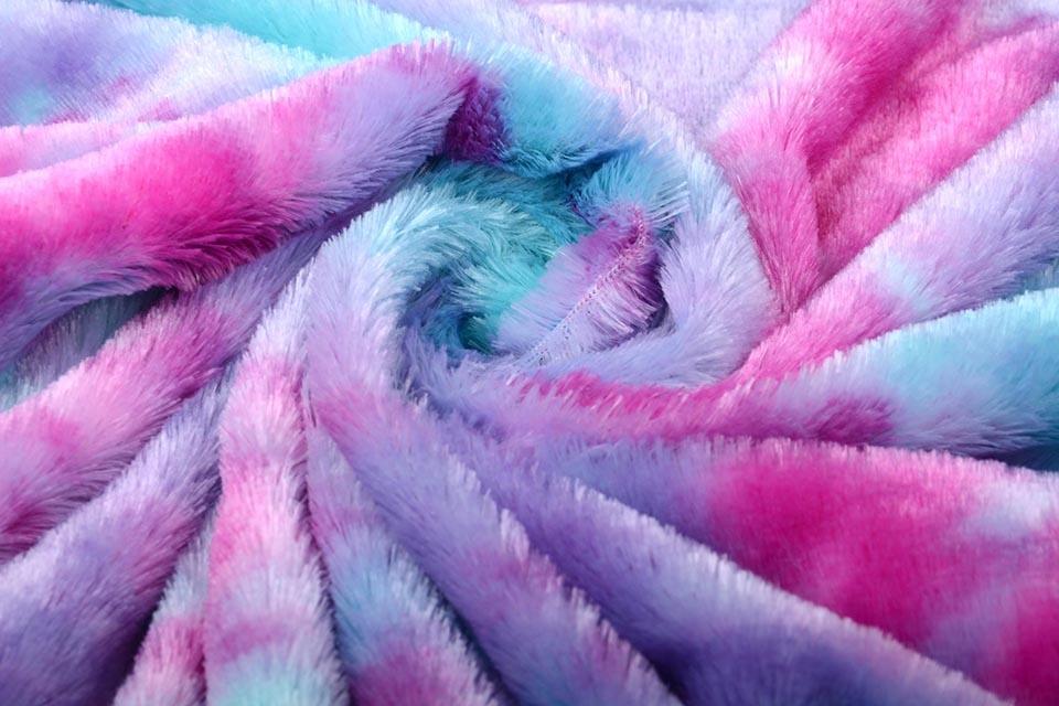 Kort Harige Bont Multi Color Paars Roze Blauw