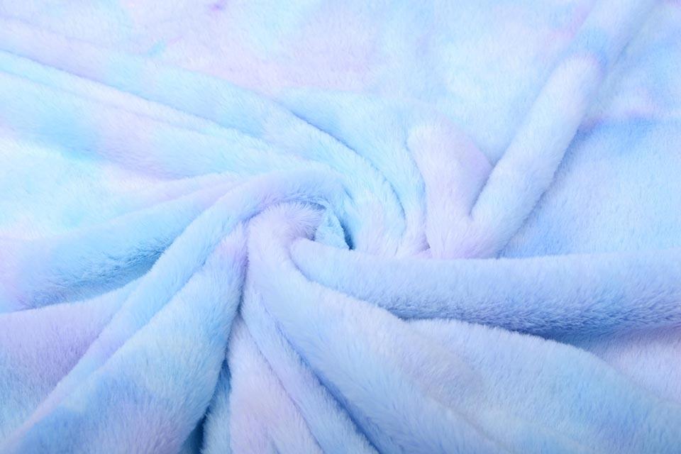 Kurz Zottelplüsch Multicolor Blau Lila