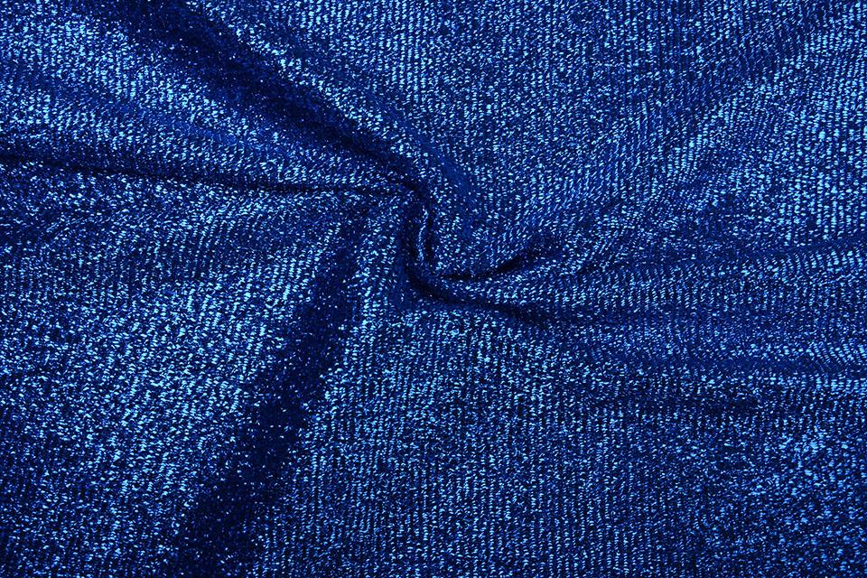 Knitted Glitter Metallic Kobalt Blauw