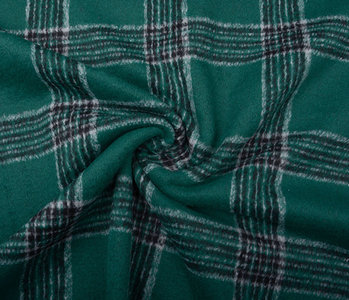 Woven Woolen Fabric Tartan Dark Green