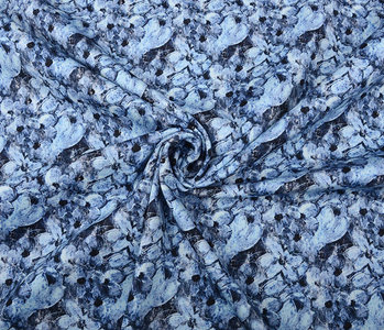 Stretch Katoen Blauwe Bloemen