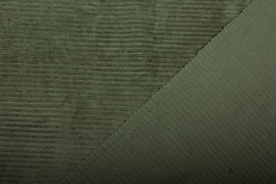 Katoen Gebreid Brede Corduroy Army Groen