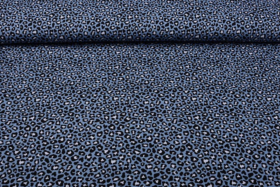 100% Baumwolle Pantherdruck Jeans Blau