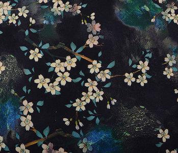 Scuba Crepe Bedruckt Blumenstrauß Schwarz