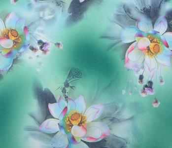 Scuba Crepe Bedruckt Fantasie Blume Grün