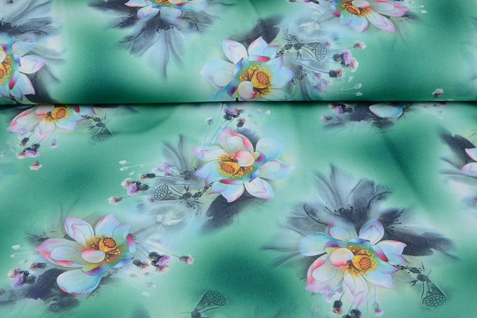 Scuba Crepe Bedrukt Fantasy Flower Groen