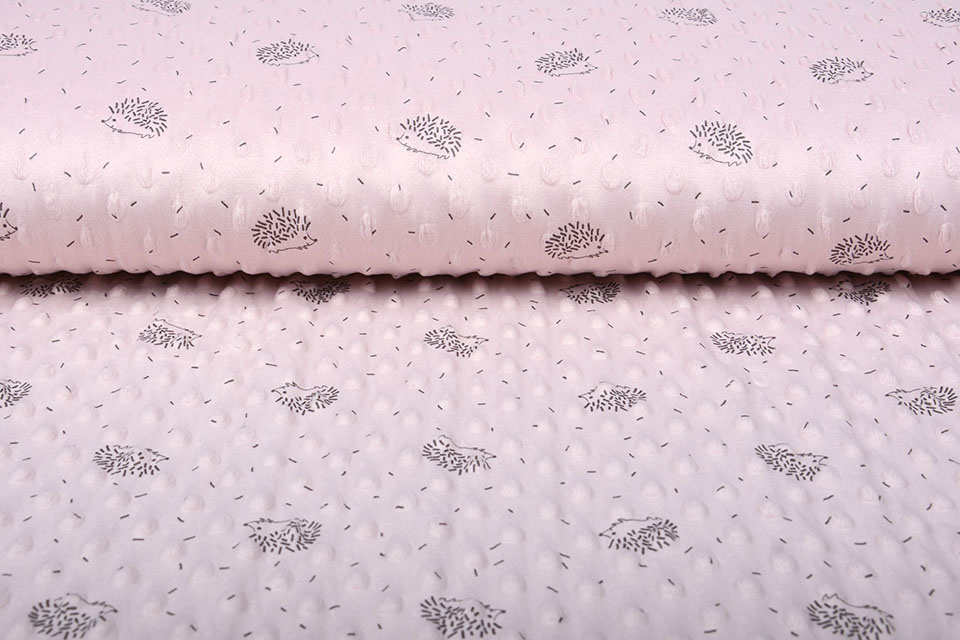 Hedgehog Minky Fleece Powder Pink