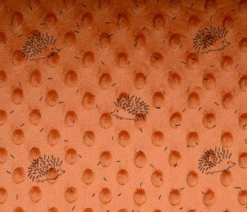 Hedgehog Minky Fleece Orange Brique