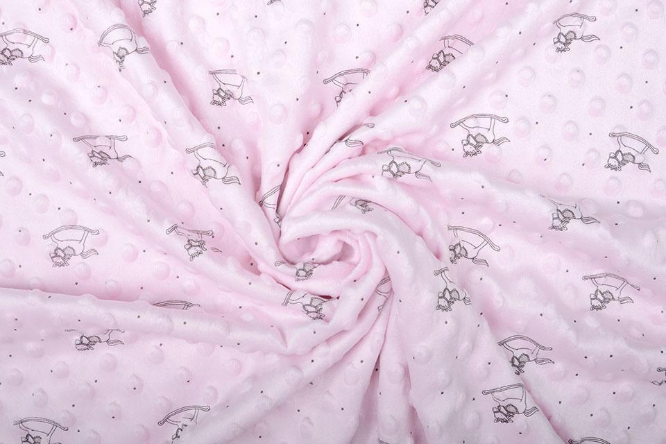 Hobbelpaard Minky Fleece Licht Roze