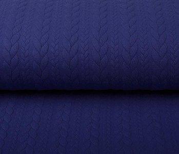 Gebreide Kabel Stof Tricot Konings Blauw