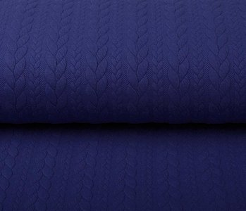 Knitted Cable Fabric Tricot Royal Blue