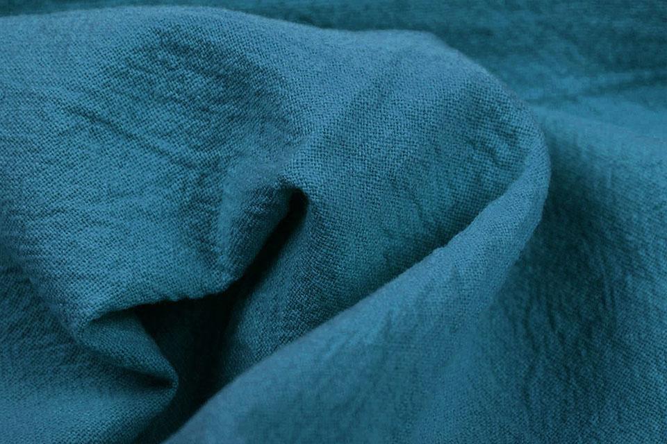 100% Gewaschene Baumwolle Petrol Blau