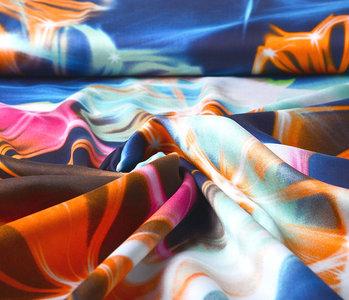 100% Viscose Digital Printed Neon Blue Orange