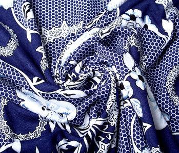 Viskose Lacquar Bunga Blume Marine Blau