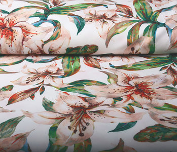 Digital Crepe Stretch Orchidee Pfirsich Weiß