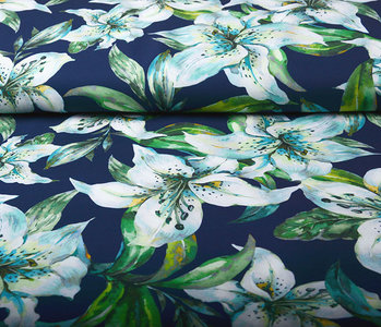 Digital Crepe Stretch Orchid Mint Navy