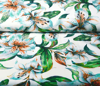 Digital Crepe Stretch Orchid Mint White