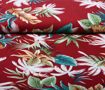 100% Viscose Tropical Palmleaves Wine Red
