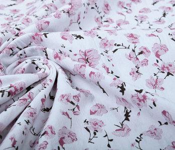100% Washed Cotton Trandafiri Flowers Old Pink