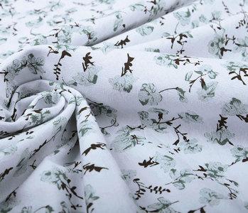 100% Gewaschene Baumwolle Trandafiri Blumen Alt Grün