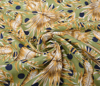 Cotton Viscose Corypha Palm Leaf Yellow Green