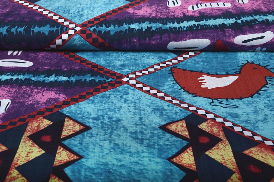Batik Print Paars Blauw