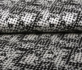 Digital Baumwoll Stretch Spots Schwarz Weiß
