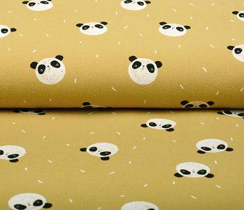 100% Washed Cotton Panda Ocher Yellow