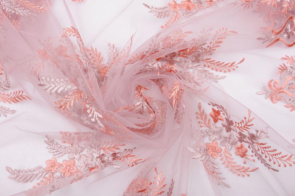 Mesh Geborduurd Oliva Oud Roze - Roze