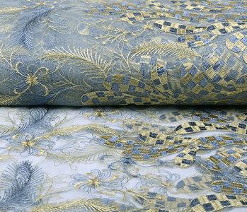 Netz Bestickt Koura Jeans Gold