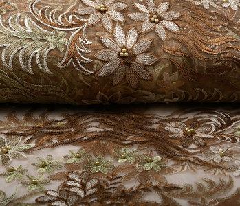 Mesh Embroidered Kazo Brown Green