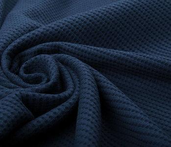 Oeko-Tex®  Baby Jersey Waffelpiqué Baumwolle Marine Blau