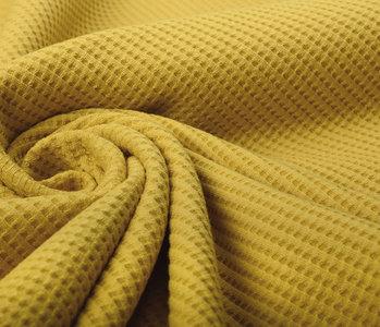 Oeko-Tex®  Baby Jersey Waffle Pique Fabric Ocher Yellow