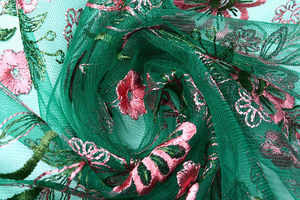 Mesh Geborduurd Fjura Groen Roze