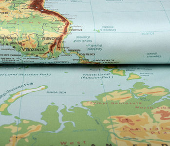 Digital Panel Stretch Cotton World Map Old Green