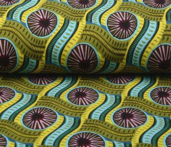 Scuba Crepe Bedrukt African Print Mosgroen