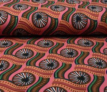 Scuba Crepe Bedrukt African Print Roze