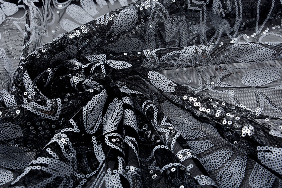 Mesh Pailletten Pango Zwart Wit