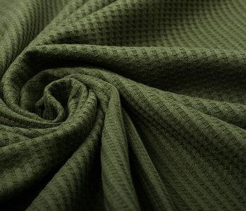Oeko-Tex®  Baby Jersey Waffle Pique Fabric Army Green