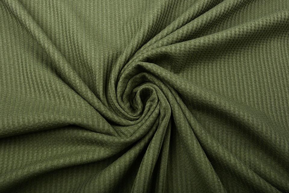 Oeko-Tex®  Baby Jersey Wafel Katoen Army Groen