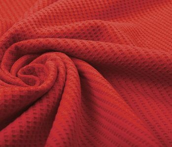 Oeko-Tex®  Baby Jersey Waffle Pique Fabric Red
