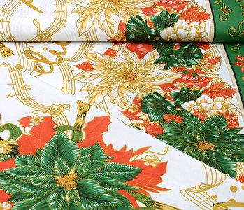 Christmas Fabric Music Green