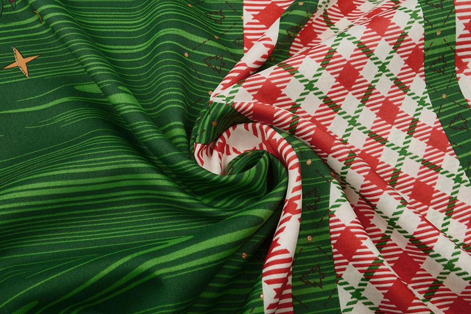 Kerststof  Geruit Groen