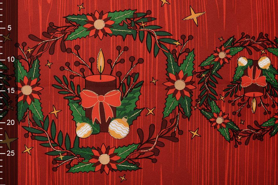 Kerststof  Geruit Rood