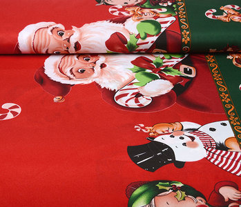 Christmas Fabric Santa Candy Cane Red