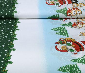 Kerststof  Kerstman Dieren Groen