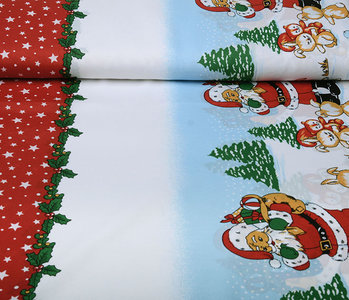 Christmas Fabric Santa Animals Red