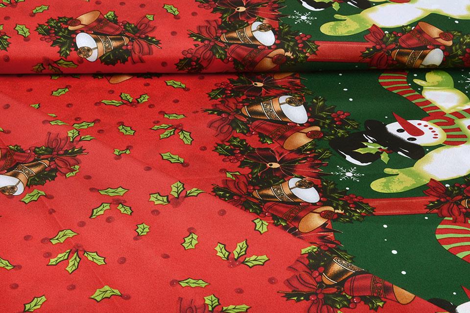 Kerststof  Kerstklokken Rood