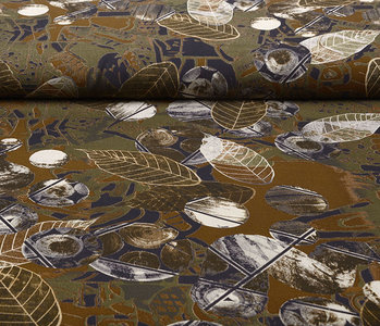 100% Viscose Leaves Army Green