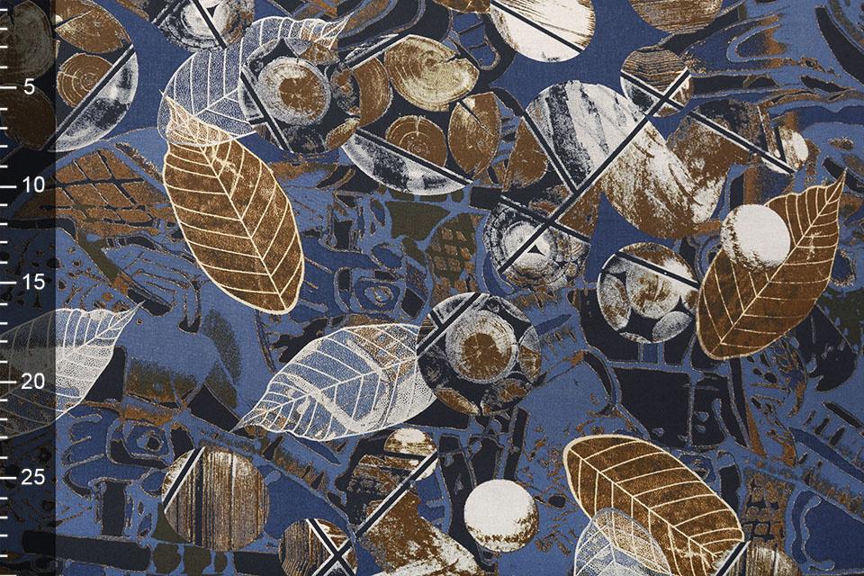 100% Viscose Leaves Blue
